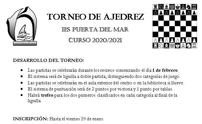 TORNEO DE AJEDREZ «IES PUERTA DEL MAR»